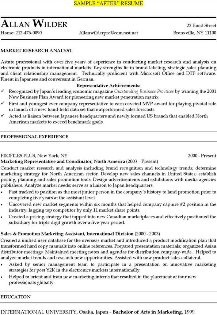 marketing research analyst resume free pdf template