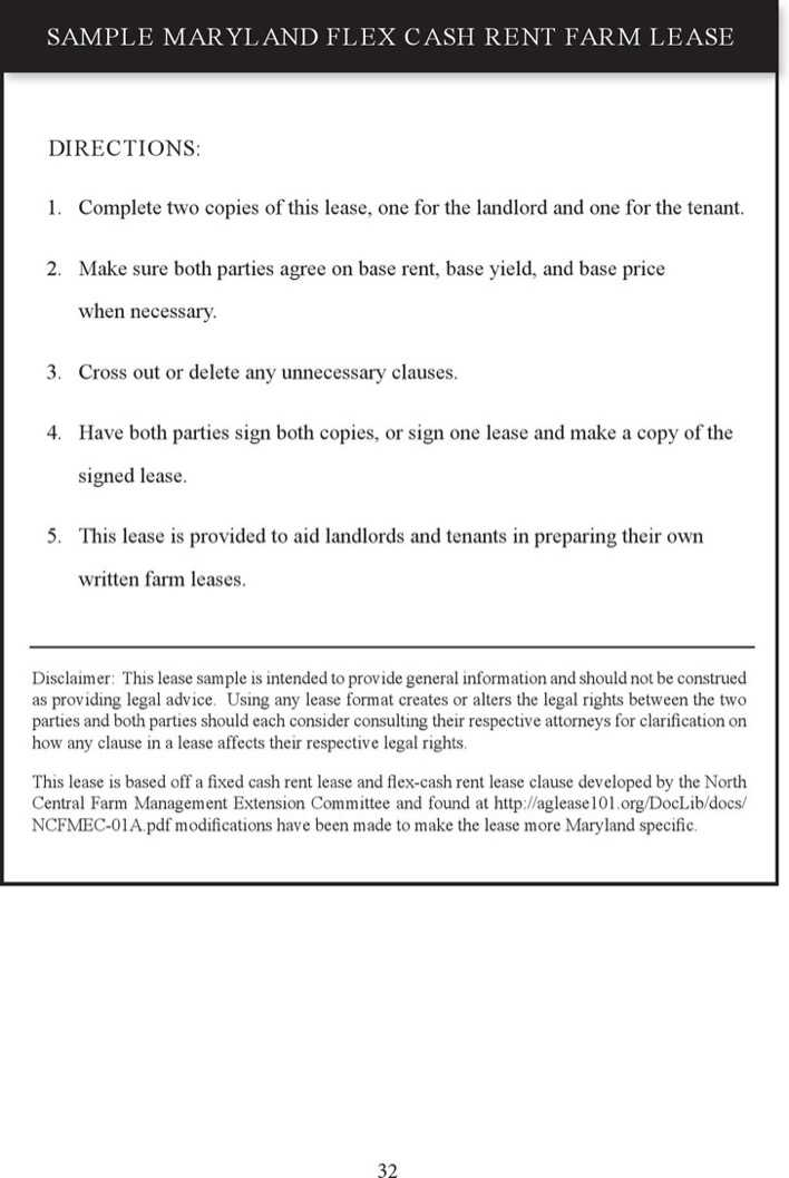 Maryland Flex Cash Rent Farm Lease Form Page 1