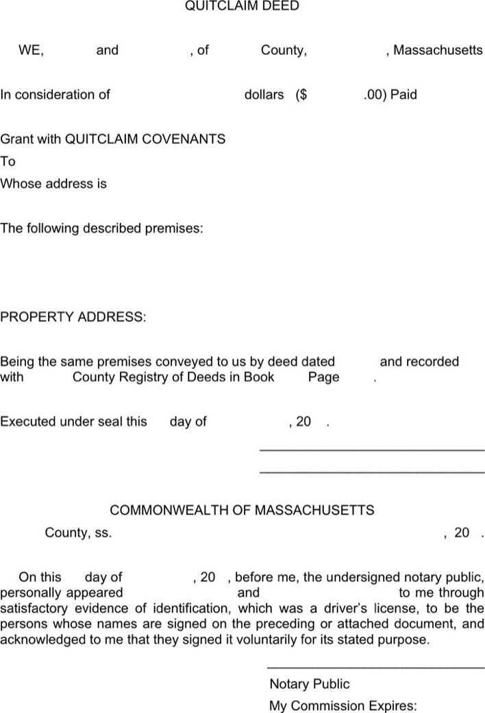 Massachusetts Quitclaim Deed Form 2 | Download Free & Premium ...