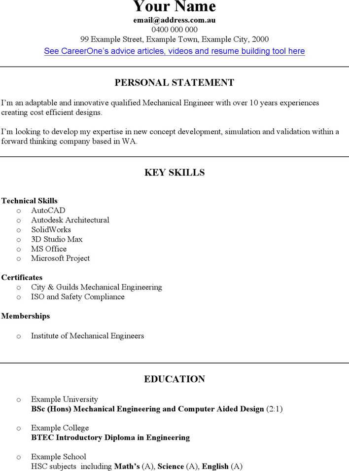 mechanical engineer cv template page 1