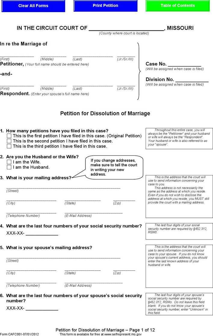 Missouri Separation Agreement Template