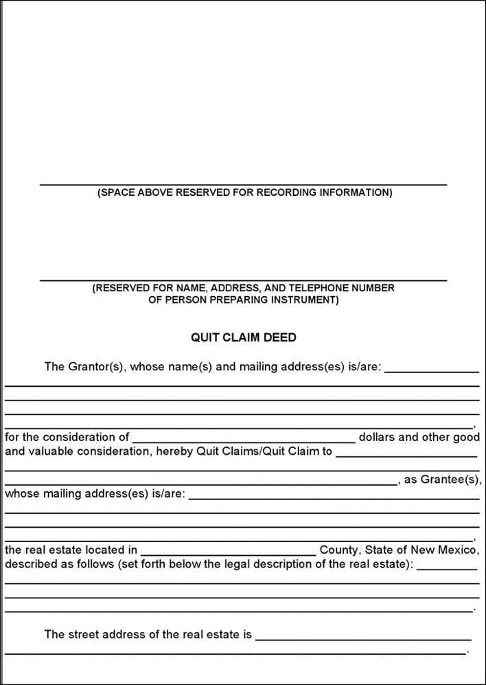 New mexico quit claim deed form download free premium for Quit claim deed template free download