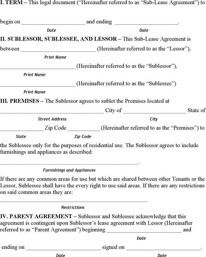 North Dakota Sublease Agreement Form Download Free Premium