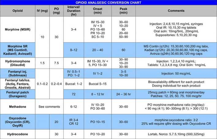 Opioid Analgesic Conversion Chart  Download Free  Premium
