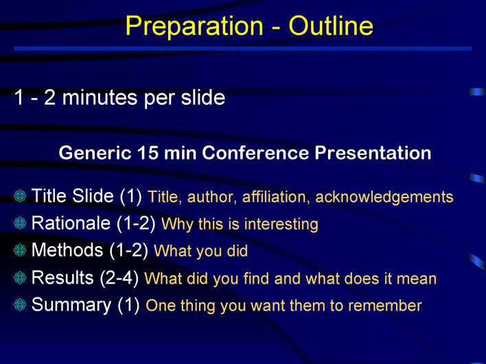 preparation outline