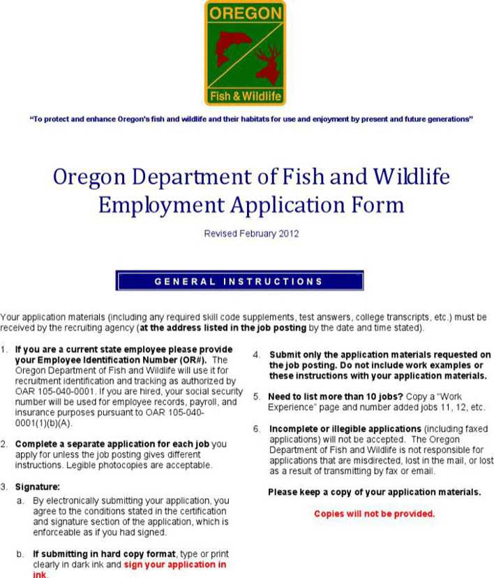 Oregon department of fish and wildlife employment for Fish and wildlife jobs
