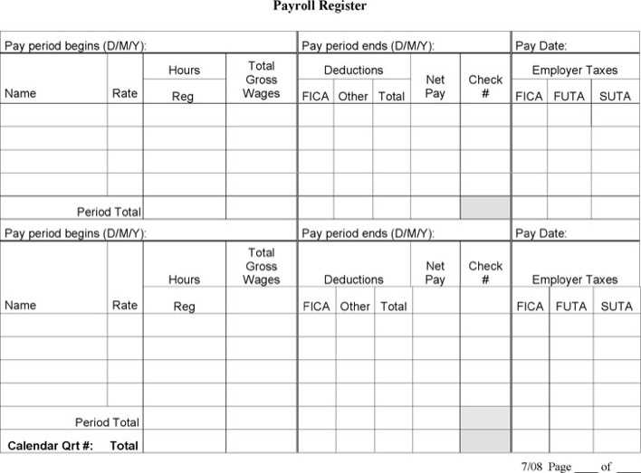 Payroll Register Template  Download Free  Premium Templates