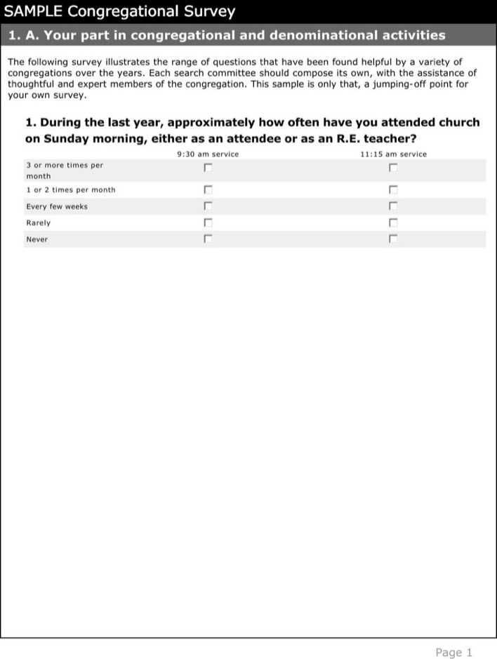 Pdf Document To Download Congregational Church Survey Template
