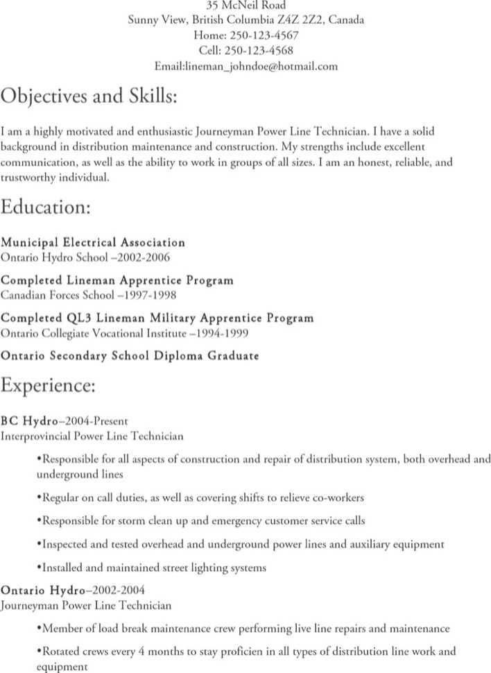 amazing journeyman lineman resume gallery simple resume office