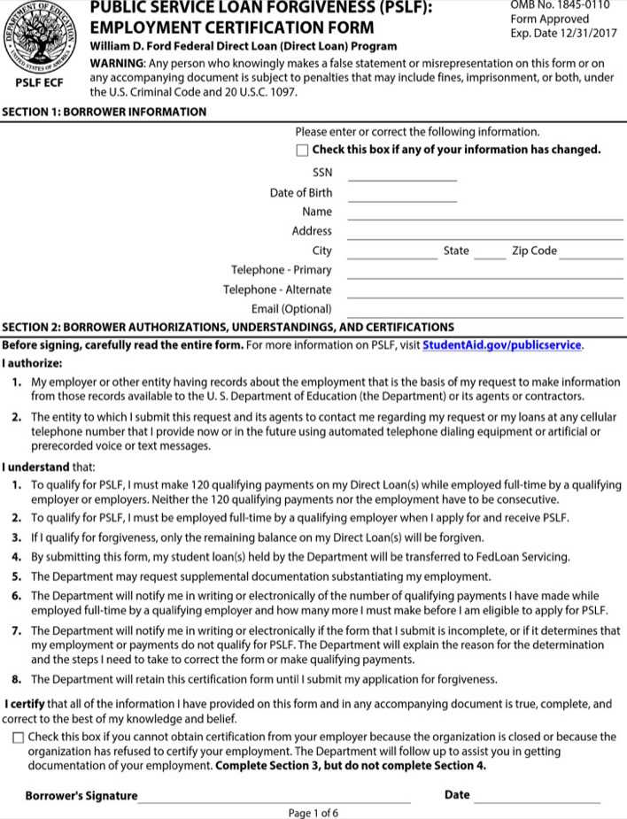 Public Service Loan Forgiveness Employment Certification Form
