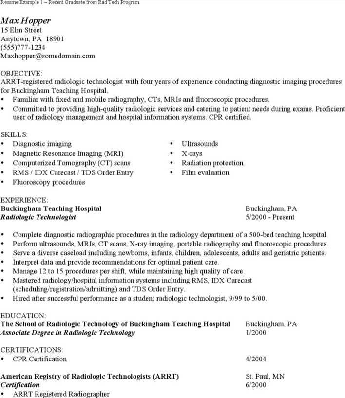 level radiology technician resume