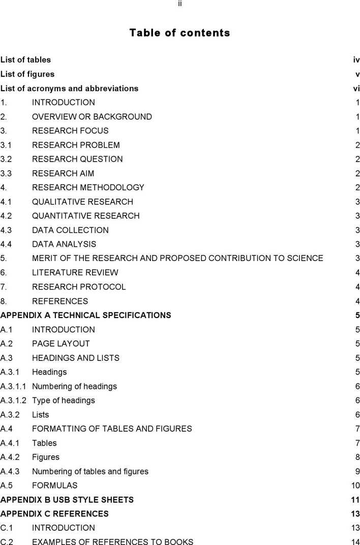 table of contents for a research paper
