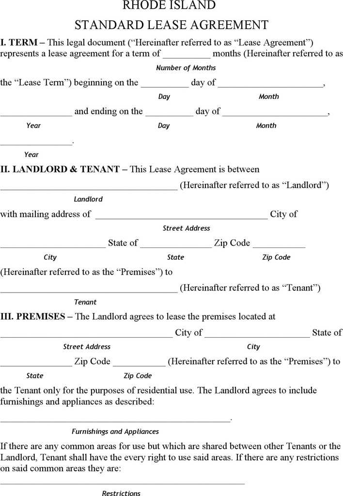Rhode Island Residential Lease Agreement Form Download Free
