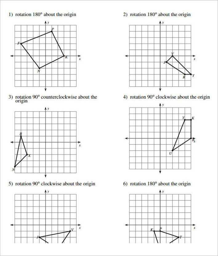 Rotations Coordinate Geometry Worksheet Template Download Free