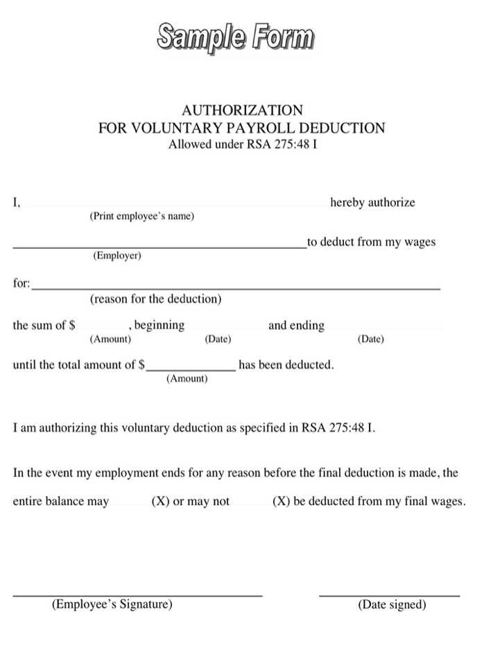 Sample Authorization for Voluntary Payroll Deduction Form | Download ...