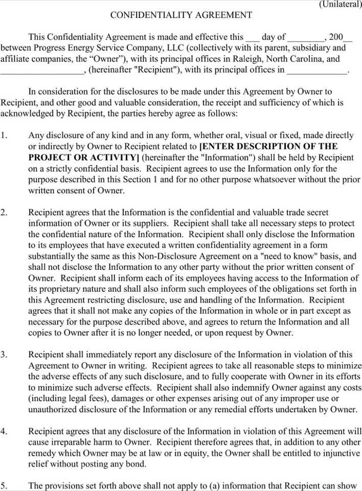 Sample Business Confidentiality Unilateral Agreement Page 1