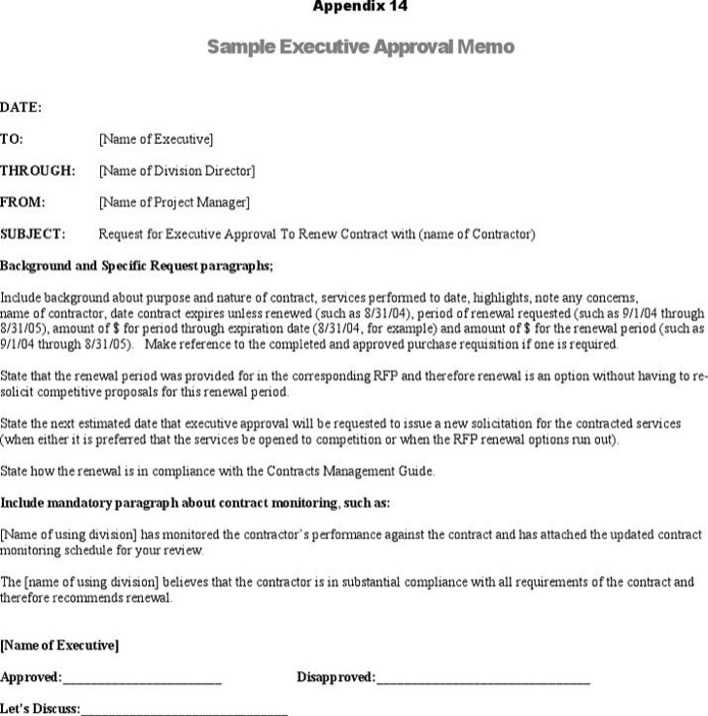 Sample Executive Approval Memo  Download Free  Premium Templates