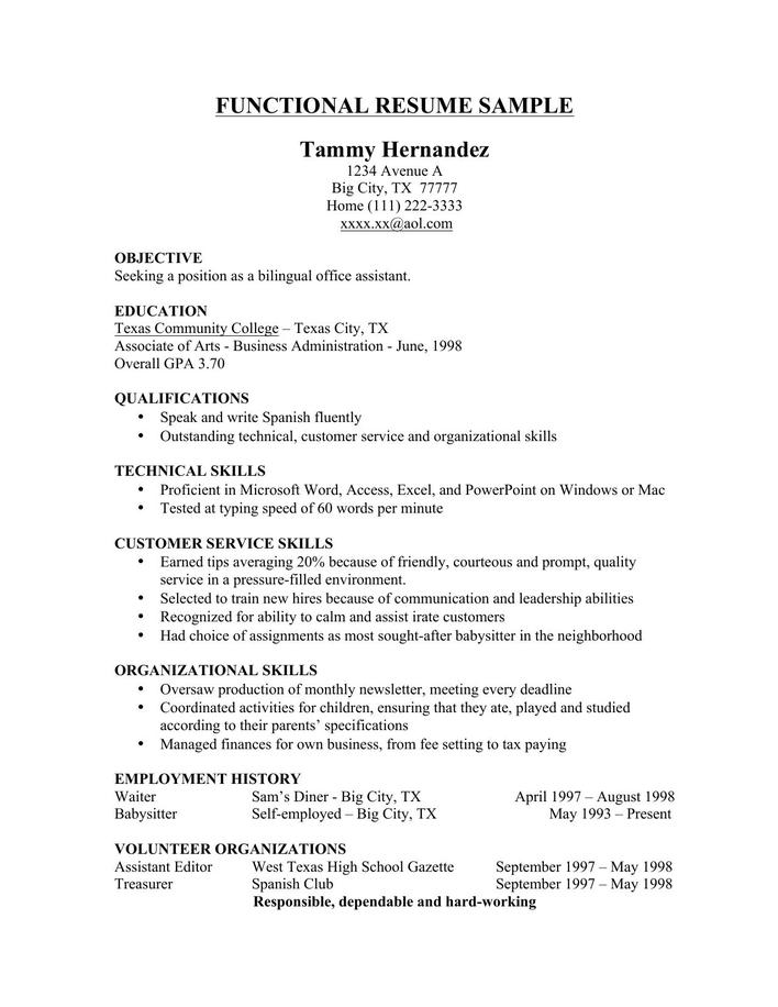 Sample Functional Resume Template Free Download Page 1