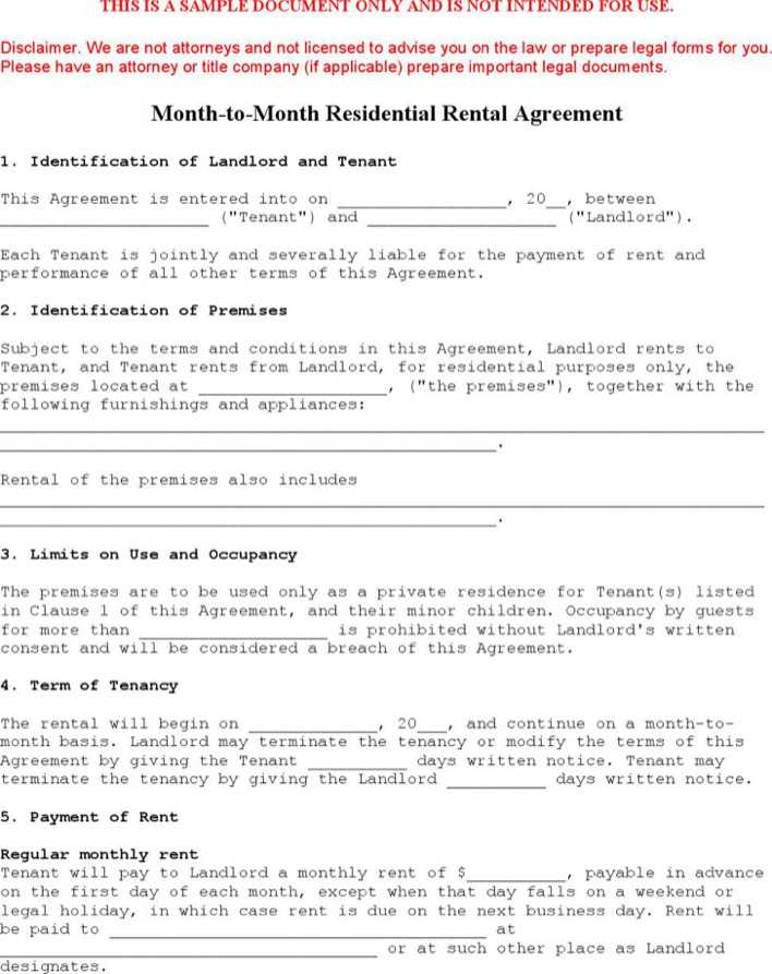 Sample Month To Month Lease Agreement