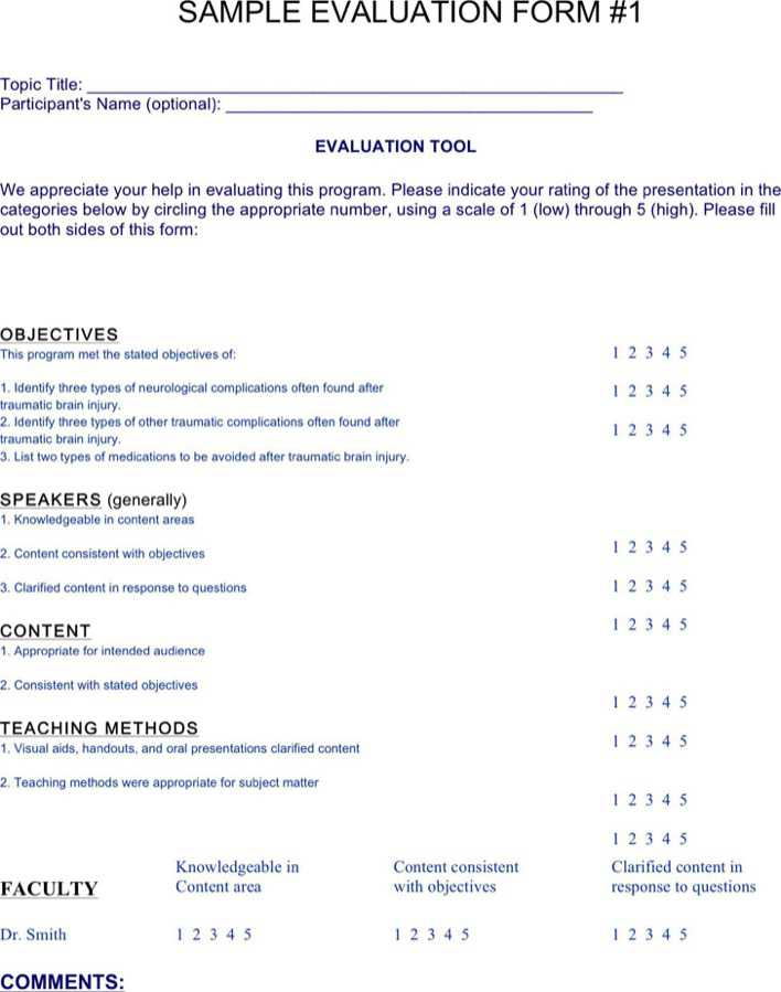 Sample Program Evaluation Form. Free Parent-Teacher Conference