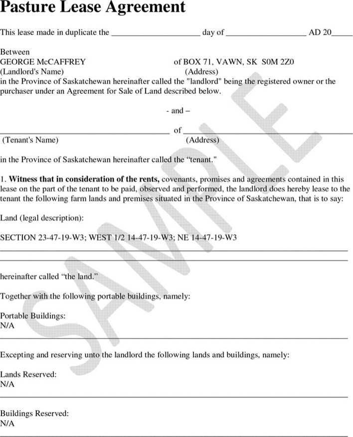 Saskatchewan Pasture Lease Agreement Sample