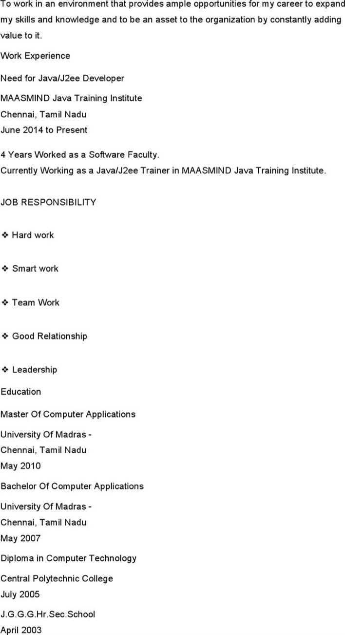 senior java developer resumes - Java Developer Resume
