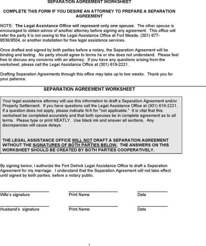 separation agreement worksheet download free premium templates forms samples for pdf. Black Bedroom Furniture Sets. Home Design Ideas