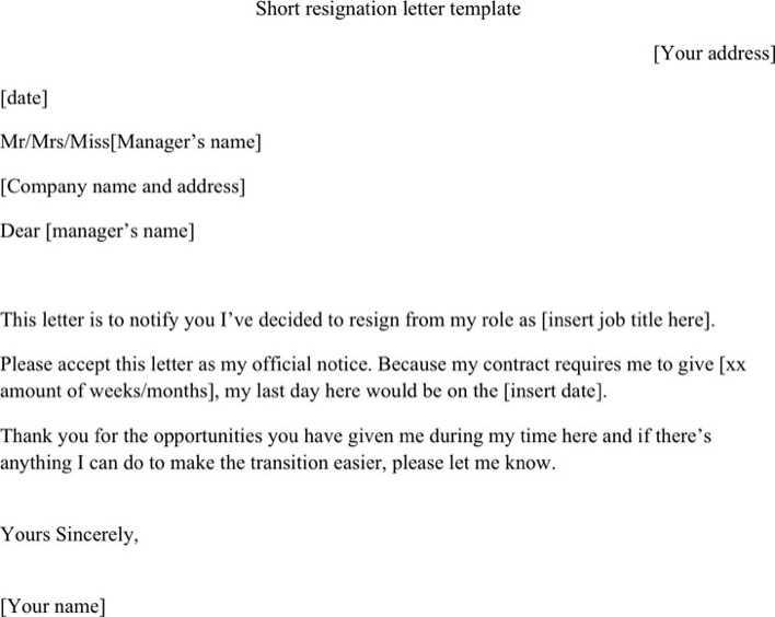 Short Resignation Letter Template Download Free  Premium