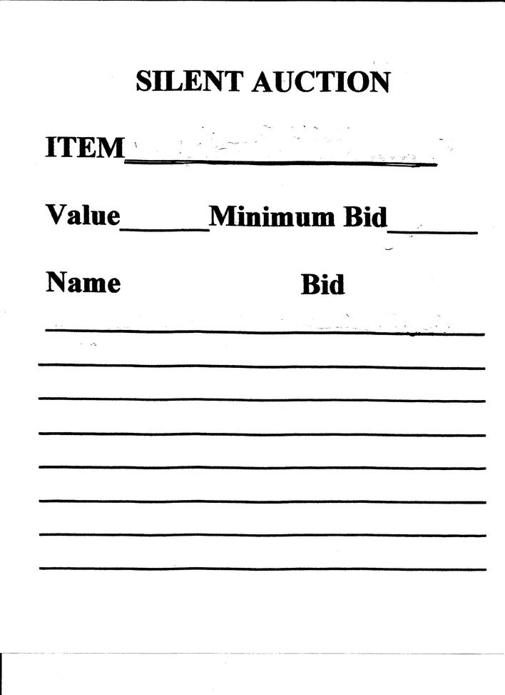 Silent auction donation bid sheet template download free for Silent auction program template