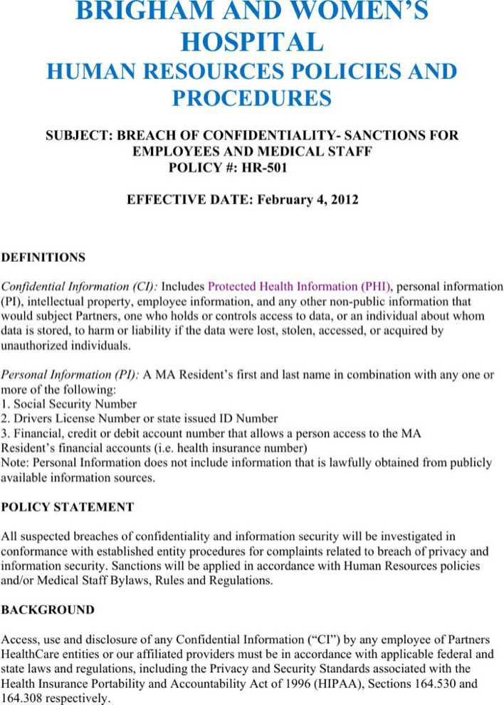 Strategic Human Resources Confidentiality Agreement Example ...