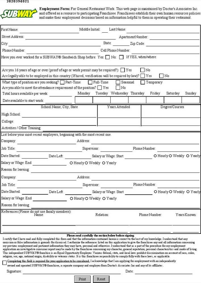 subway employment application download free premium templates forms samples for pdf formats