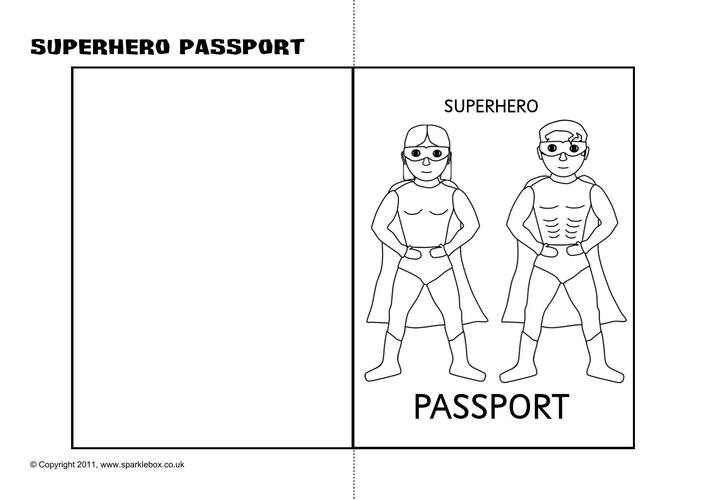 Superhero Passport Writing Frame Printable Template Download