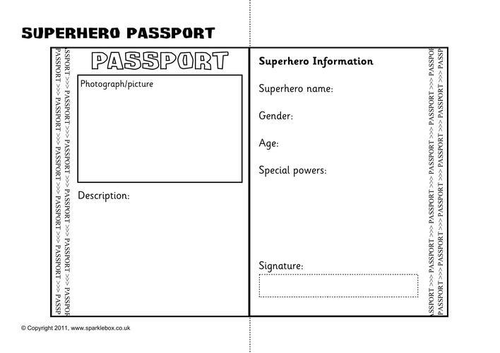 Superhero Passport Writing Frame Printable Template Download ...