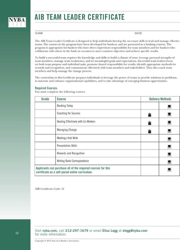 Team leader certification template free download for Aib business plan template