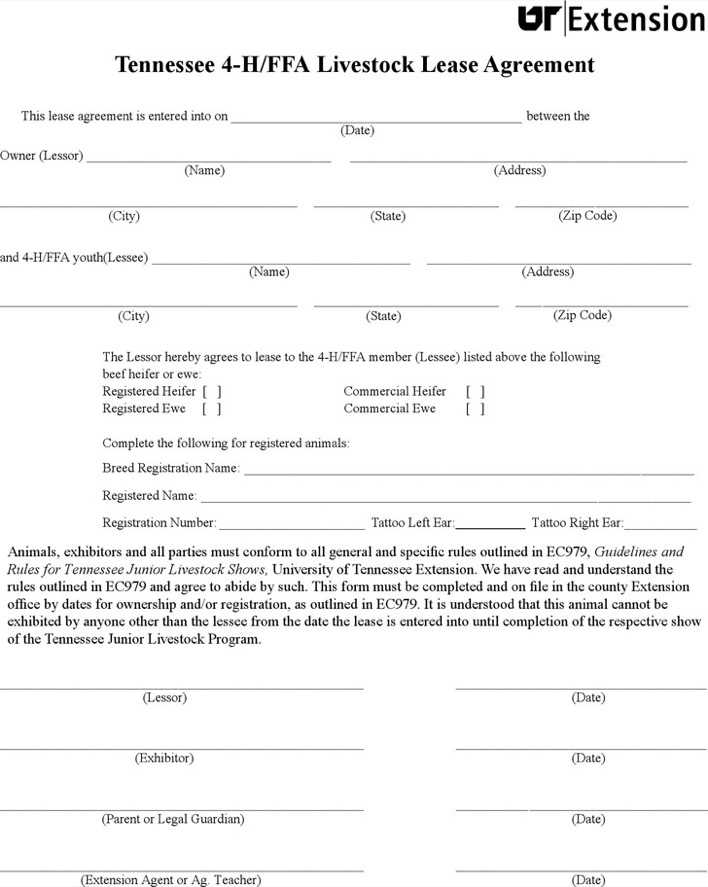 Tennessee 4 Hffa Livestock Lease Agreement Form Download Free