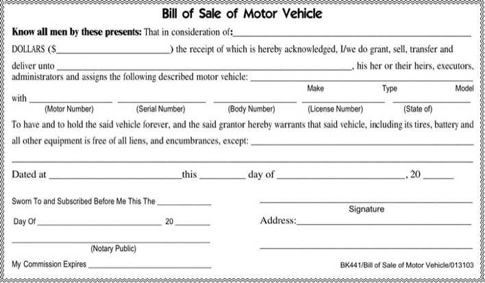 Tennessee Bill Of Sale >> Tennessee Motor Vehicle Bill Of Sale Form Download Free