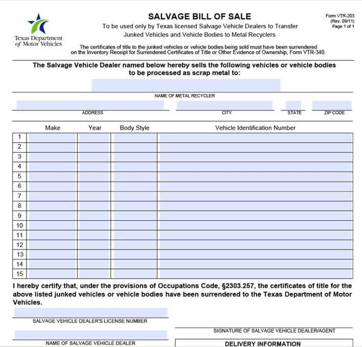 texas salvage bill of sale form download free premium templates