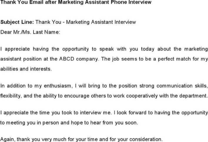 thank you email after marketing assistant phone interview page 1