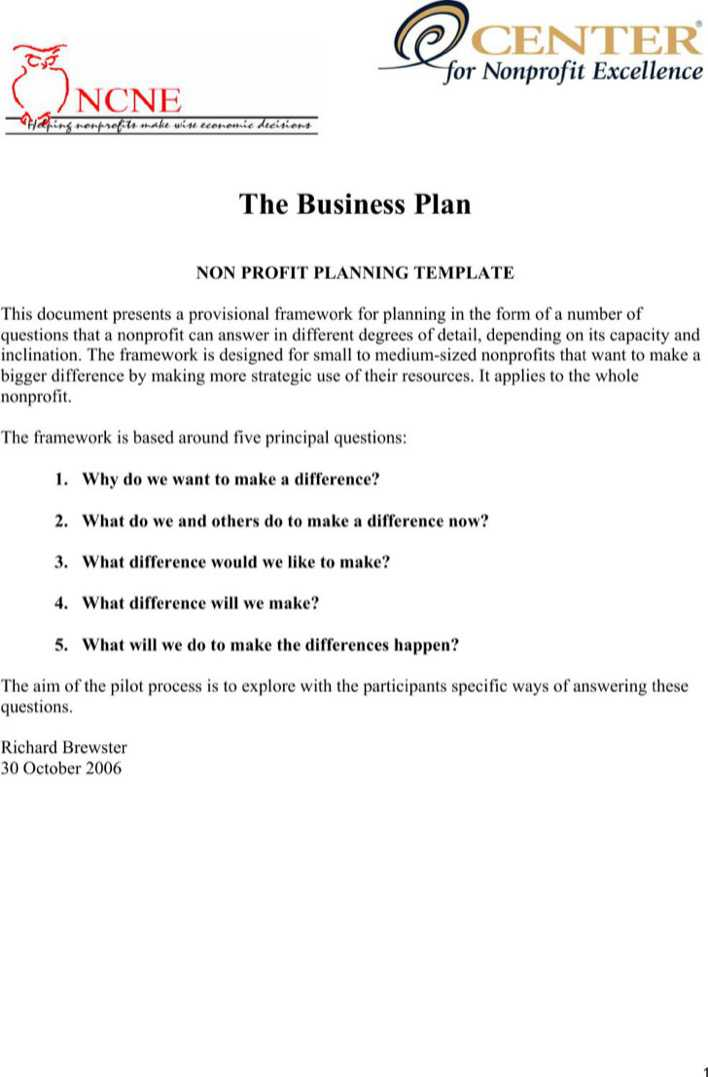 The Business Plan Nonprofit Pilot Template Pdf Free Download Page 1