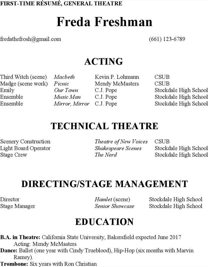 theatre director resume template download free premium templates forms samples for pdf. Black Bedroom Furniture Sets. Home Design Ideas
