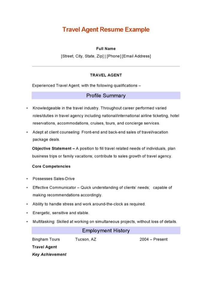 Travel agent resume examples