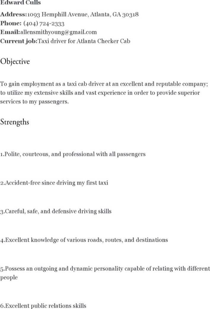 truck driver resume