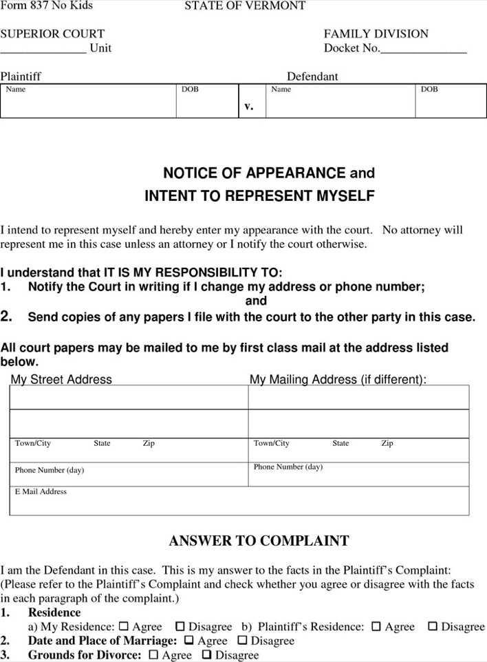 Vermont Answer to Divorce Complaint & Counterclaim No Kids Form ...