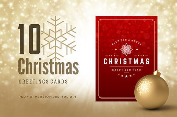 10 Printable Christmas Greeting Card Template Download