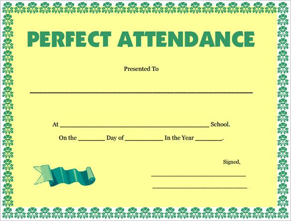100% Attendance Certificate Template