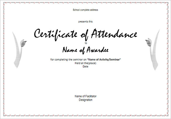 100% Attendance Certificates Printable