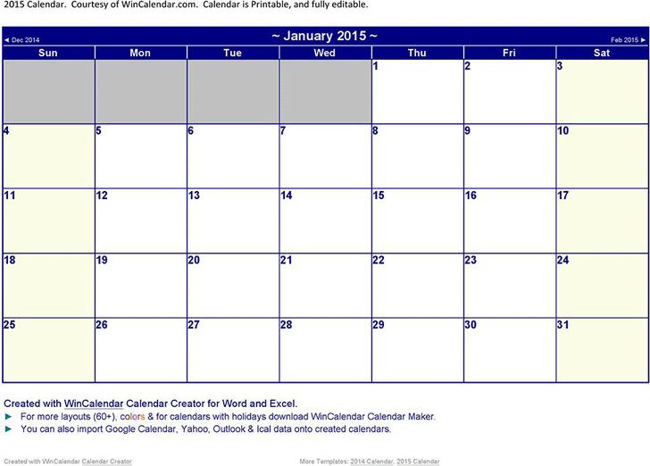 12 Month Calendar 2015 3