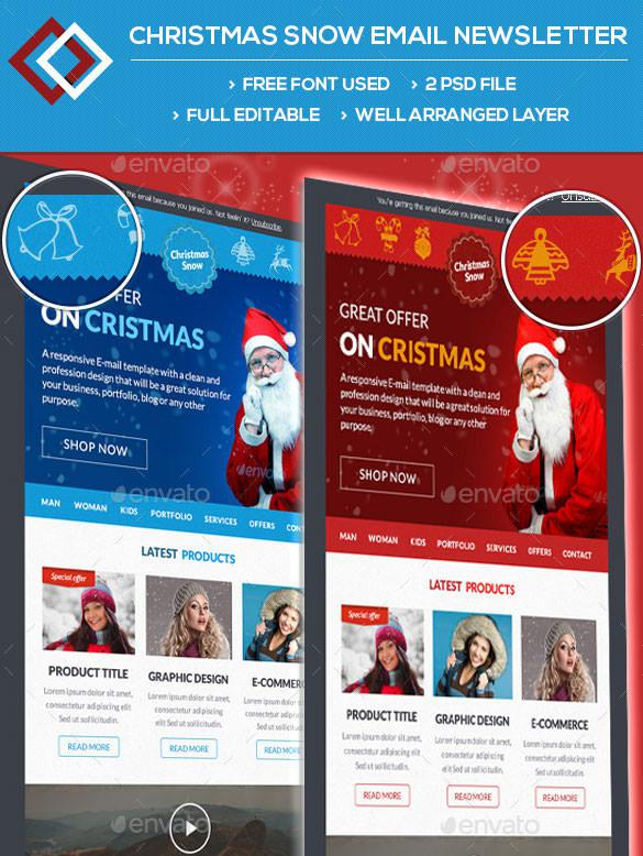 2 Christmas Snow Email Newsletter Photoshop PSD Download