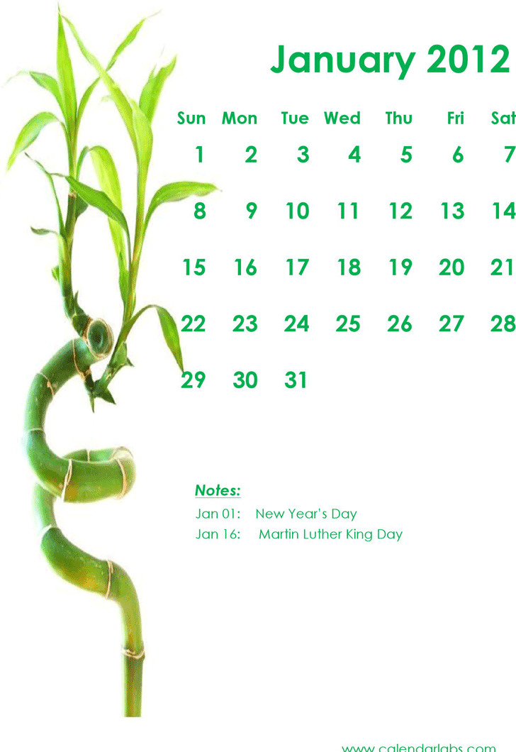 2012 Monthly Green Bamboo Calendar Template
