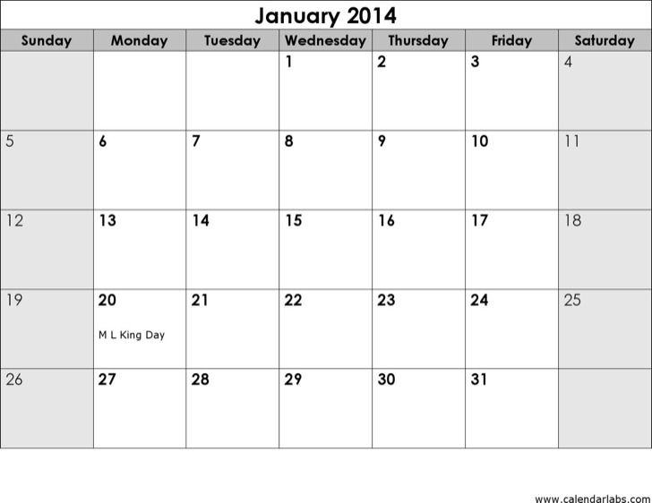 2014 Monthly Sun Us Holidays Landscape